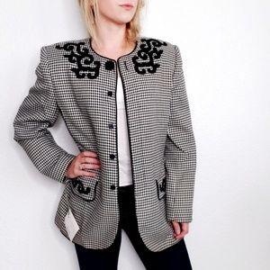Vintage Emily Houndstooth Wool Boxy Blazer Jacket